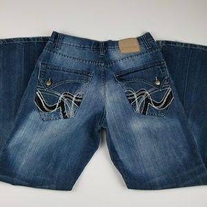 Project Mayhem dark wash jeans embellished pockets
